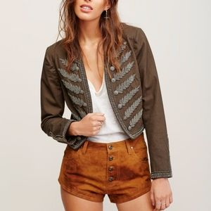 Free People Cheeky Suede Shorts in Taupe